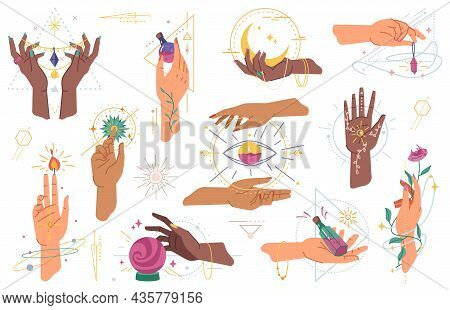 Magic Hands Holding Flowers, Ball Crystal, Moon And Compass Rose Of Wind, Eye And Amulet Isolated Fl