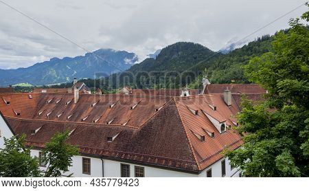 High Angle Shot Around The St Mang Abbey In Fuessen, A Town In The Ostallgaeu District In Bavaria, G