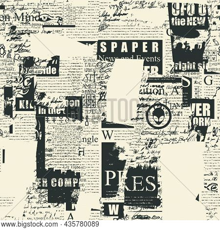 Abstract Seamless Pattern With Old Newspaper Clippings And Unreadable Scribbles. Chaotic Vector Back
