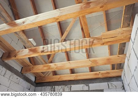Roof Roof Structures. Wooden Structures Roofing Construction From Wooden Beams, Logs