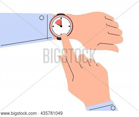 Finger Pointing At Watch On The Hand