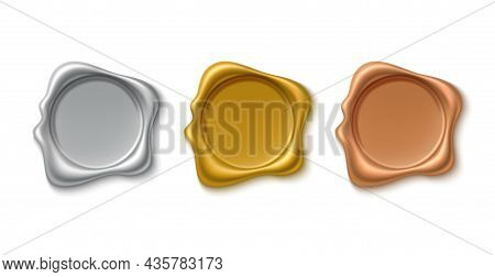 Golden Wax Stamps. Realistic Gold, Silver And Bronze Vintage Round Guarantee Imprints, Retro Empty Q