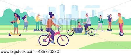 People Ride Transport In Park. Dwellers Drive Eco Vehicles. Cycle Riders. Men And Women Moving Elect