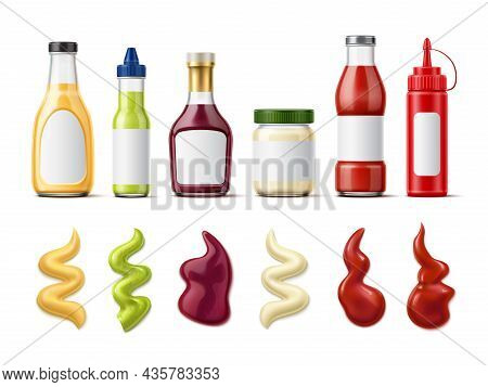 Realistic Sauce Bottle With Splash. Meal Dressing. Glass Packaging For Tomato Ketchup And Mayo. Bbq