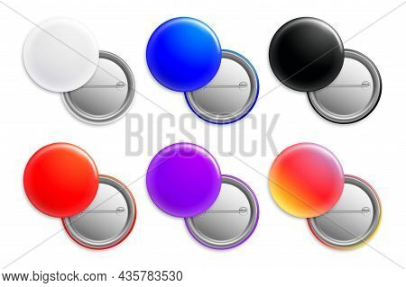 Realistic Color Pin Badges. Round Bright Icons. Plastic Button With Metal Clasp. Glossy Multicolored