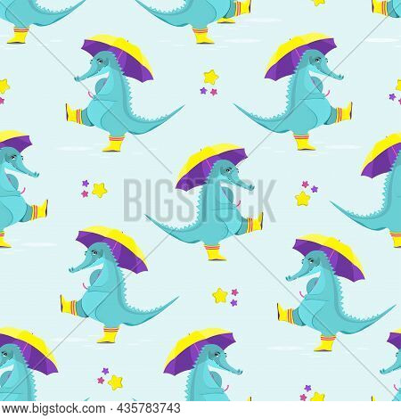 Pattern Of Cute Crocodiles In Rubber Boots Walks Through Puddles With An Umbrella. Flat Vector Illus