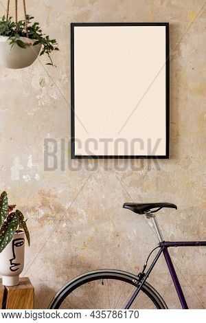 Interior Design Of Living Room With Black Poster Mock Up Frame, Bike And Elegant Personal Accessorei