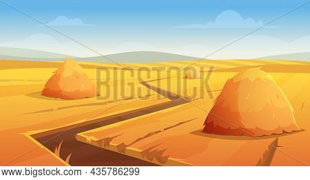 Haystack Background. Rural Village Landscape Farm Wheat Field With Round And Square Stack On Horizon