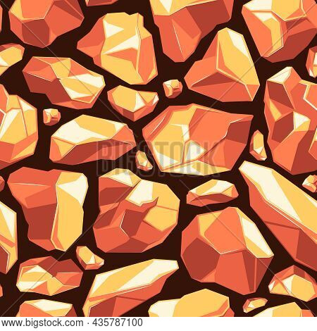 Stones Seamless. Rocks Collection Weather Natural Texture Of Power Stones Garish Vector Background P