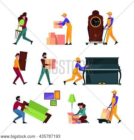 Relocation Family. Happy People Moving Modern Furniture Couple Going In New House Garish Vector Flat