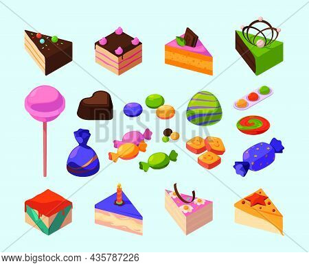 Candy Isometric. Sweets Delicious Food For Happy Kids Lollipop Chocolate Cakes And Candy Garish Vect