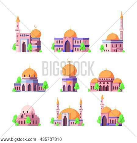 Arabic Mosque. Religion Authentic Arabesque Buildings Geometric Roofs With Domes Sultan Home Garish