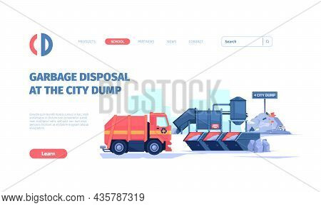 Waste Recycling Landing. Industry Cleaning From Garbage Separated Plastic Waste Industry Vehicle Gar