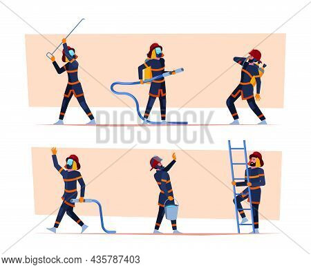 Fireman Characters. Emergency Safety Save Life Persons Fire Fighters People With Equipment Garish Ve