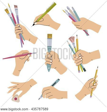 Stationary In Hands. People Holding Brushes Pencils Lettering Calligraphic Items For Artists Recent