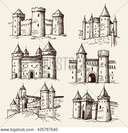 Medieval Castles. Drawing Ancient Building Towers Gothic Architectural Objects Old Castles Recent Ve