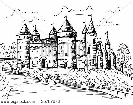 Medieval Landscape. Gothic Ancient Buildings With Big Fortress Fantasy Historical Houses From Stones