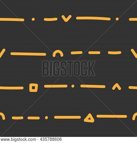 Seamless Abstract Pattern On Dark Background. Vector Wallpaper.  Graphic Contour Striped Ornament.