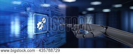 Integration Data System Technology Concept. Robotic Hand Pressing Virtual Button 3d Render