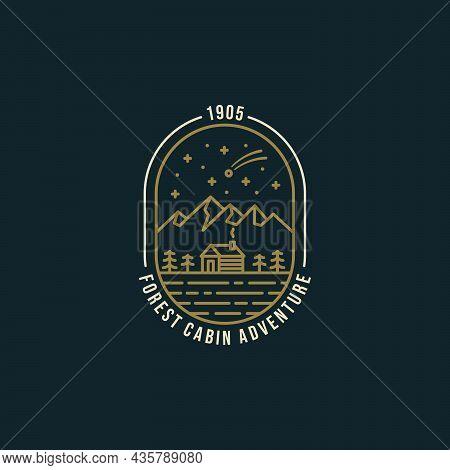 Forest Cabin Adventure With Landscape Mountain Night View Line Art Badge Emblem Logo Design Vector