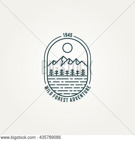 Landscape Mountain Forest Adventure Wildlife Line Art Badge Emblem Logo Design Vector