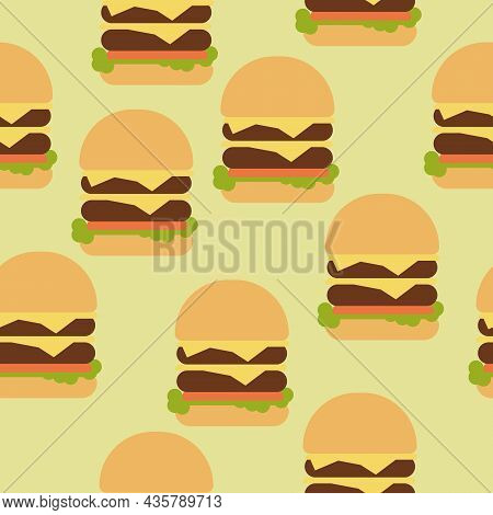 Double Cheeseburger Seamless Pattern, Fast Food On Gray Background Vector Illustration