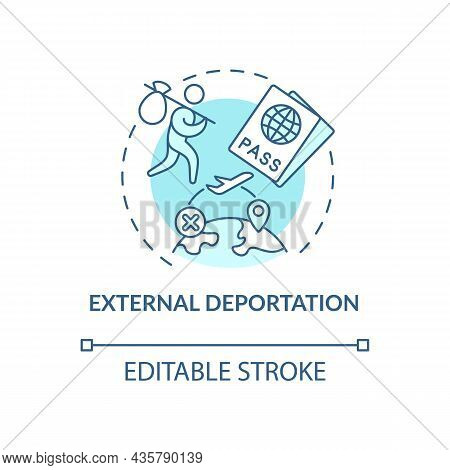 External Deportation Blue Concept Icon. Official Removal Abroad. Leaving Country. Deportation Abstra