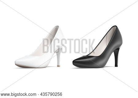 Blank Black And White High Heels Shoes Mockup, Half-turned View, 3d Rendering. Empty Elegant Women F