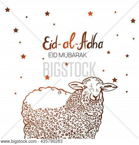 Hand Drawn Sketch Of Sheep Sacrifice Animal To Festive Banners Of Eid-al-fitr. Vector Illustration T