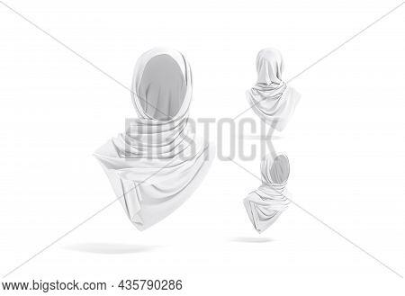 Blank White Woman Muslim Hijab Mockup, Different Views, 3d Rendering. Empty Arabian Jersey Headwear