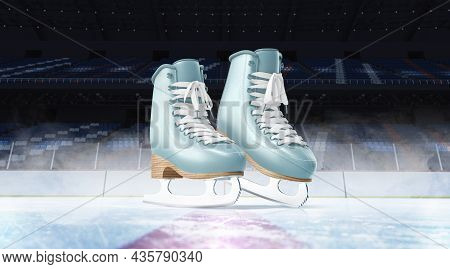 Blank Ice Rink Surface Blue Skates Background Mockup, Front View, 3d Rendering. Empty Colored Shoela