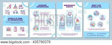 Risk Of Deportation Brochure Template. Avoid Departure. Flyer, Booklet, Leaflet Print, Cover Design