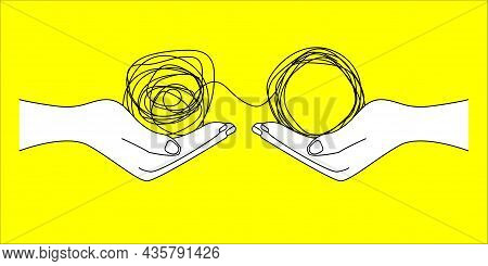 Tangled And Untangled Tangle. Help Of Coach, Psychologist. Business Coaching, Mentoring. Communicati