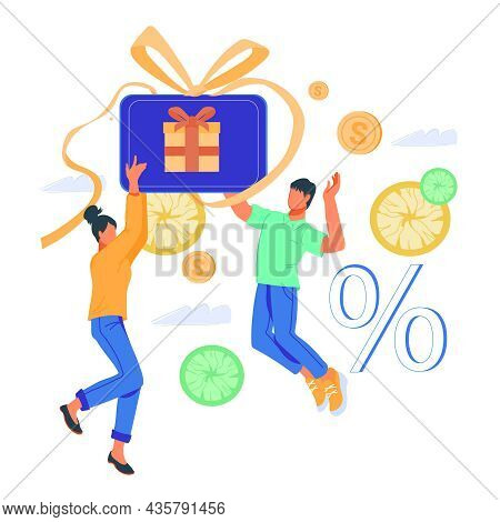 Cheerful Buyers Or Shoppers, Happy Users Of Gift Card Or Shopping Voucher. Cashback And Clients Loya