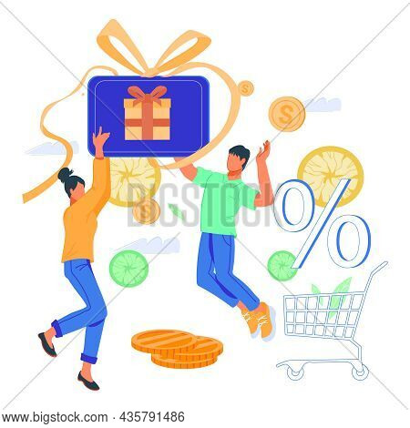 Happy Buyers Or Shoppers With Gift Card, Shopping Voucher Getting Cashback For Purchase. Clients Mon
