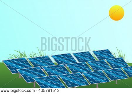 Green Energy Sustainable Resources Concept. Solar Photovoltaic With Sun. Vector And Illustration Des