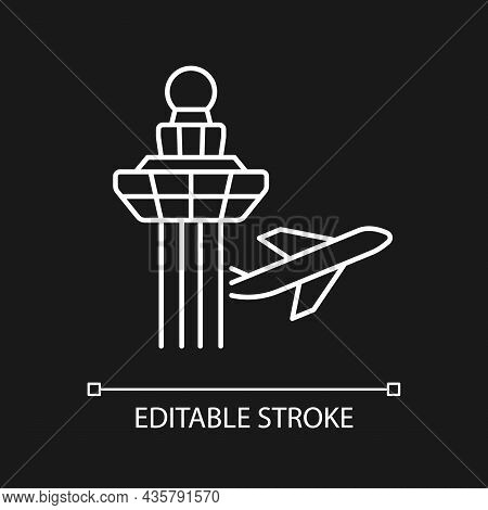 Changi Airport Control Tower White Linear Icon For Dark Theme. Visual Observation From Tower. Thin L