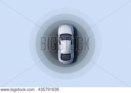 Automobile With Gps Tracking Pulsing Signal. A Vehicle Transmitting Gps Signal. Searching Car Locati