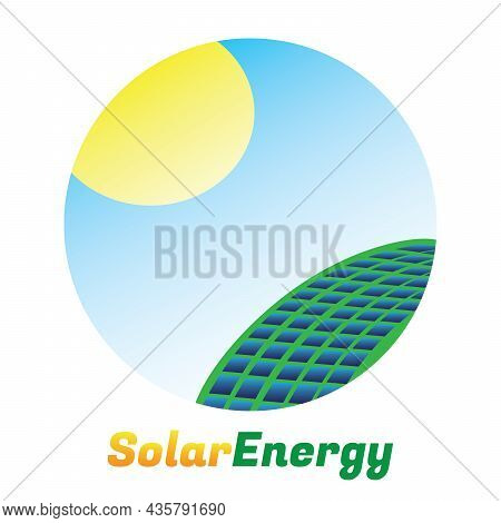 Solar Energy Logo. Green Energy Concept. Solar Panel With Sun In Circle. Vector And Illustration Des