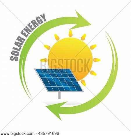 Solar Energy Logo. Green Energy Concept. Solar Panel With Sun And Recycling Arrow Flat Design Symbol