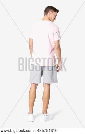 Pink t-shirt and shorts men's basic wear rear view