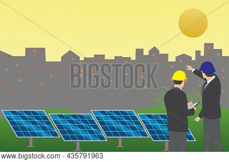 Businessman Meeting For Solar Energy Project At The Solar Station With Silhouette Of City In Backgro