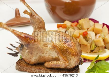 Roasted Quail Entirely On Croutons
