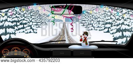 Winter road in snowfall from inside of the car. Long horizontal Christmas and New Year banner and greeting card. 3D illustration.