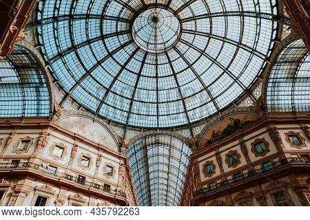 Aesthetic architecture wallpaper background vivid tone filter, Galleria Vittorio Emanuele II in Italy, Milan