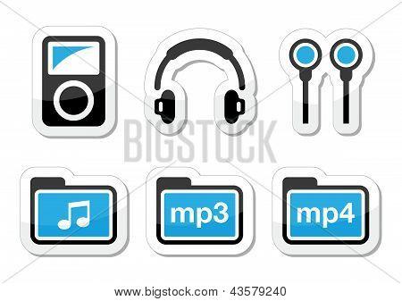MP3 speler vector icons set