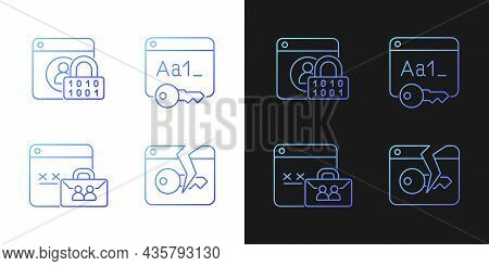 Password Encryption Gradient Icons Set For Dark And Light Mode. Internet Safety. System Security. Th