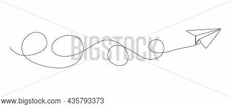 Continuous Single Line Paper Plane Drawing, Line Art Vector Illustration