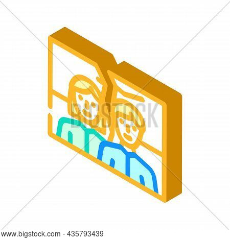 Torn Photo Divorce Isometric Icon Vector. Torn Photo Divorce Sign. Isolated Symbol Illustration