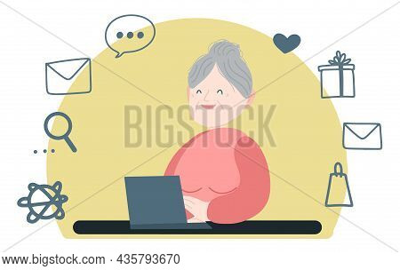 Happy Grandmother With A Laptop Is Sitting At The Table And Laughing. Yellow Background With A Set O